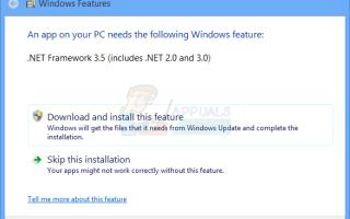 Исправлено: приложение на вашем компьютере нуждается в .NET Framework 3.5 —