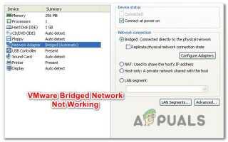 Исправлено: VMware Bridged Network не работает —