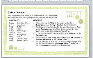 5 шаблонов карточек рецептов для Microsoft Word —