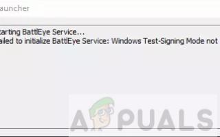 Исправлено: Не удалось инициализировать BattlEye Service. Режим тестового пения Windows не поддерживается —