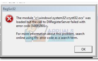 Исправлено: Ошибка DllRegisterServer 0x8002801c —
