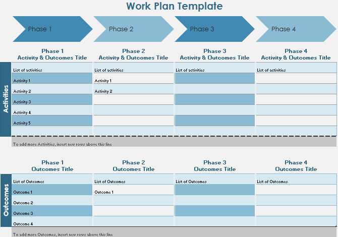 Шаблон временной шкалы рабочего плана Excel