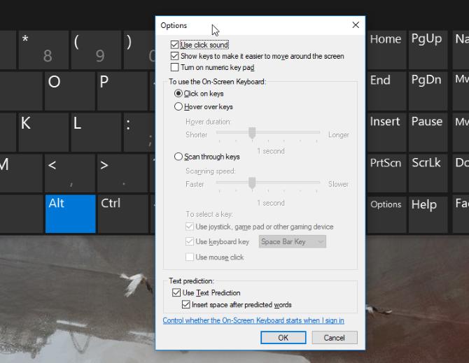 окна настроек экранной клавиатуры