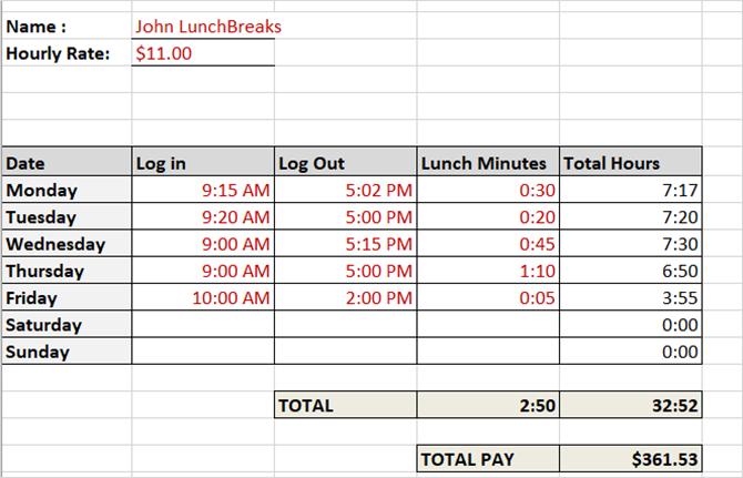 табель учета рабочего времени часов в неделю с перерывами на обед