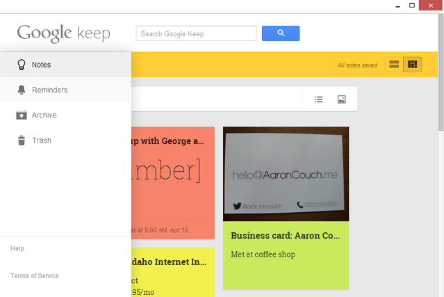 8 Google Keep Menu - Примечания