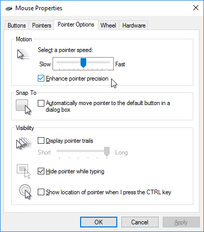 Windows 10 повышает точность указателя