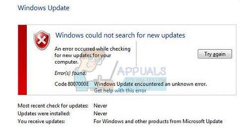 Как исправить ошибку Windows Update 8007000E