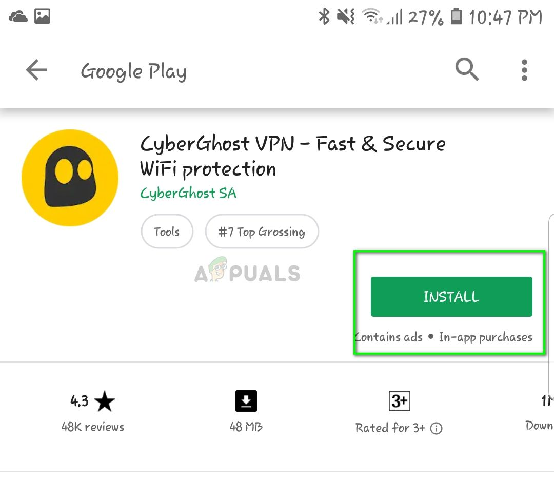 Установка CyberGhost VPN - Play store