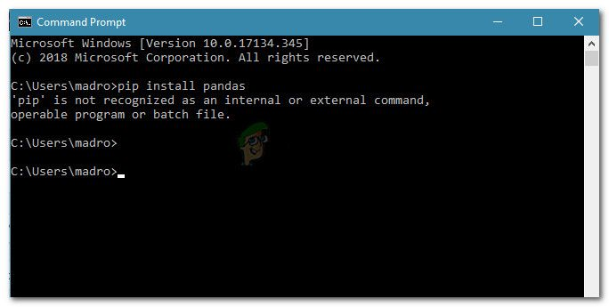 'pip' is not recognised as an internal or external command, operable program or batch file