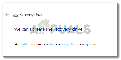 Мы можем't create the recovery drive A problem occurred while creating the recovery drive