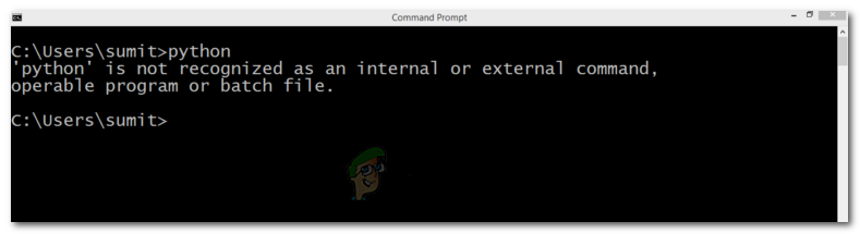 """Python is not recognized as an internal or external command, operable program or batch file."""