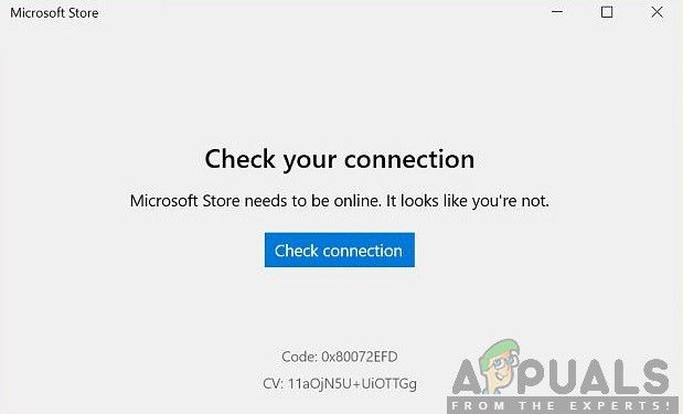 "Ошибка Microsoft Store 0x80072efd""Check your Connection"""